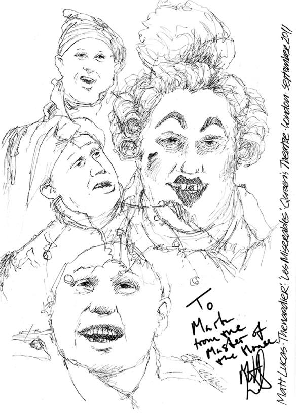 Drawing: Matt Lucas as Thénardier in Les Misérables at the