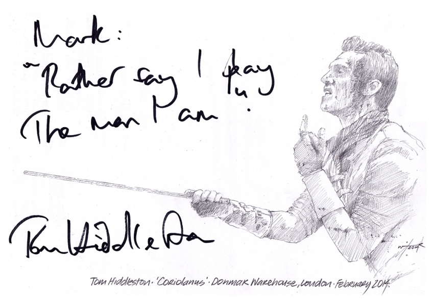 "Autographed drawing of Tom Hiddleston in ""Coriolanus"" at the Donmar Warehouse, London, February 2014"