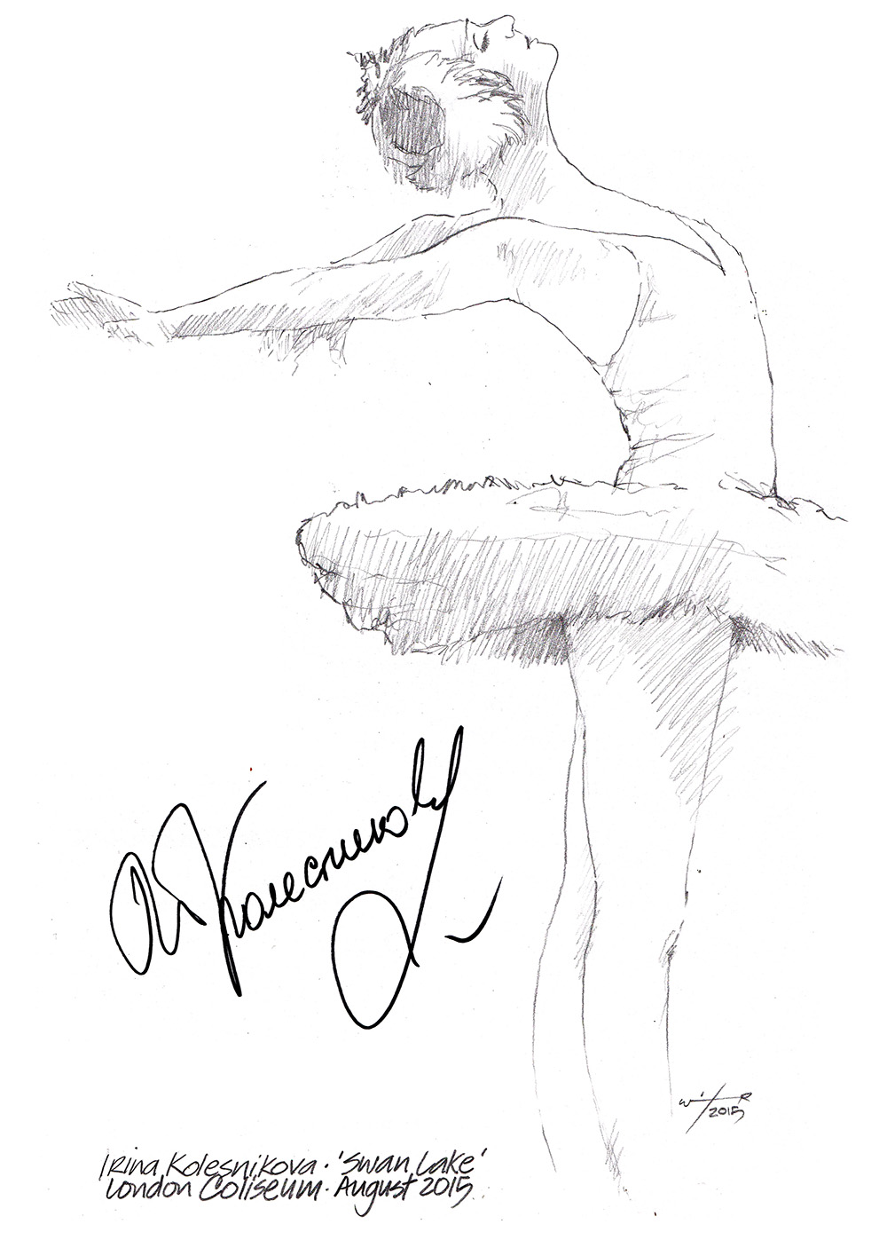 drawing  irina kolesnikova in swan lake
