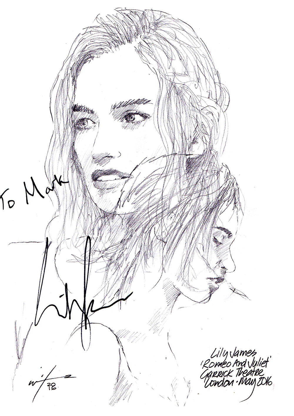 drawing  lily james in romeo and juliet