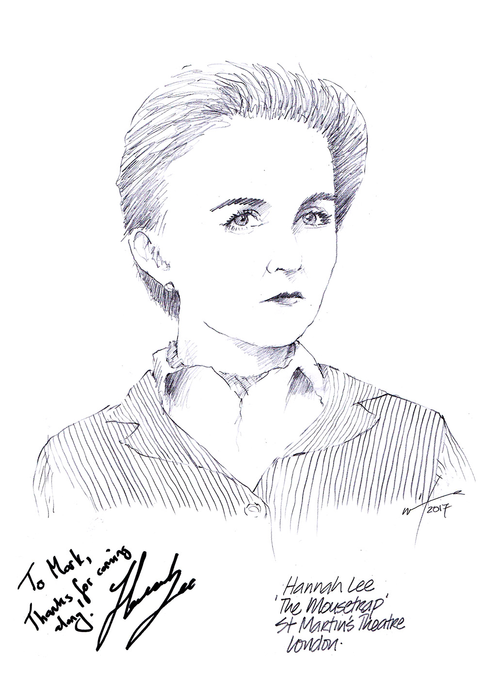 Hannah Lee drawing, The Mousetrap, West End