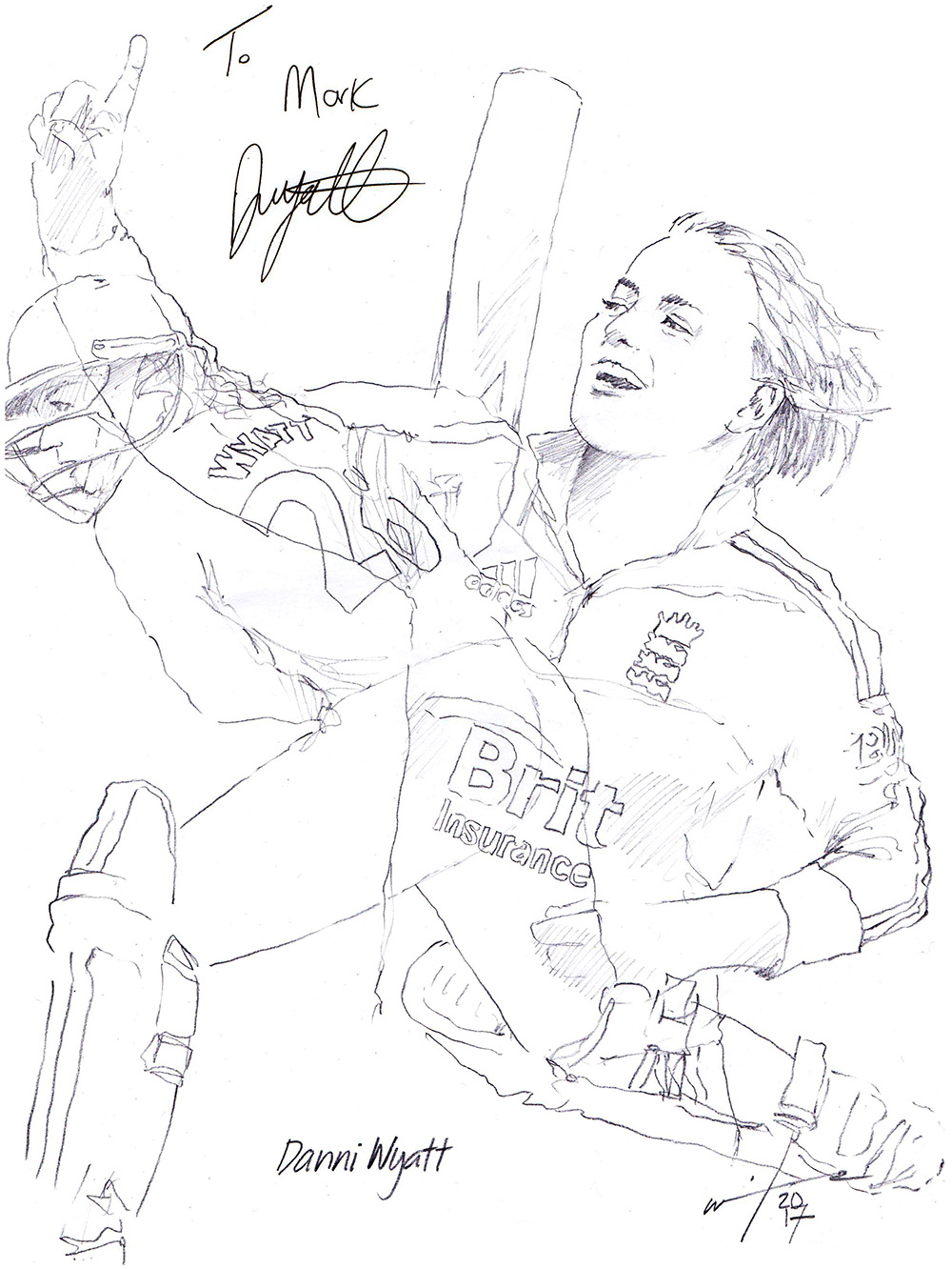 Autographed drawing of cricketer Danni Wyatt