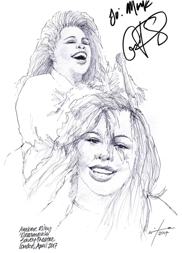 Autographed drawing of Amber Riley in Dreamgirls at the Savoy Theatre on London's West End