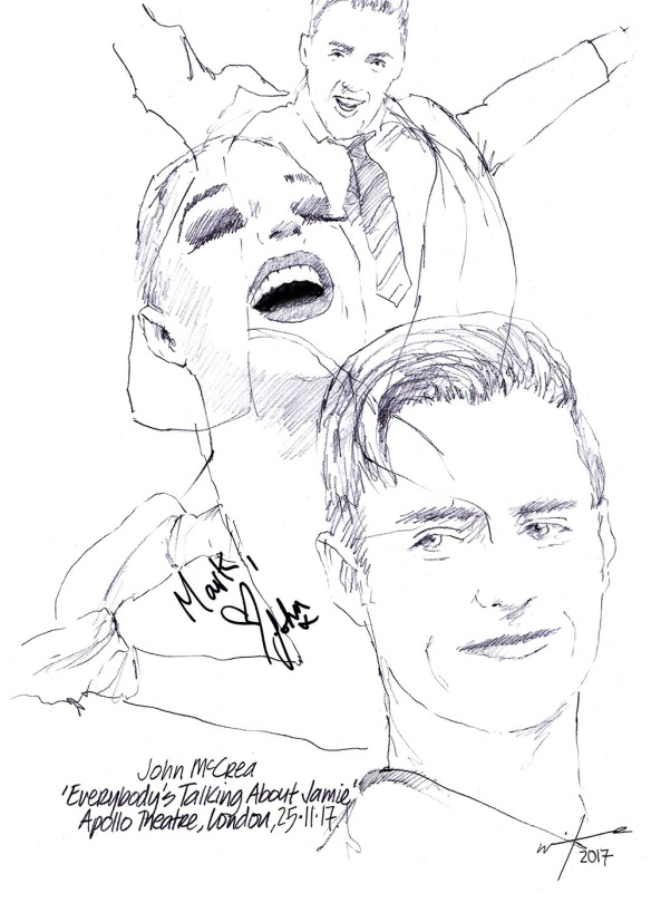 "Autgoraphed drawing of John McCrea in ""Everybody's Talking About Jamie"" at the Apollo Theatre on London's West End"