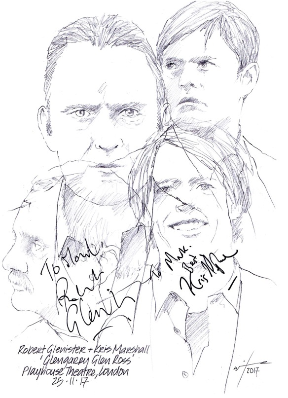 Autographed drawing of Robert Glenister and Kris Marshall in Glengarry Glen Ross at the Playhouse Theatre, London