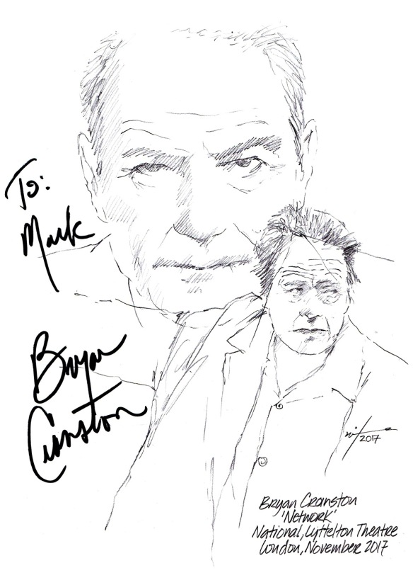 "Autographed Drawing of Bryan Cranston in ""Network"" at the National Theatre, Lyttelton Theatre in London 2017"