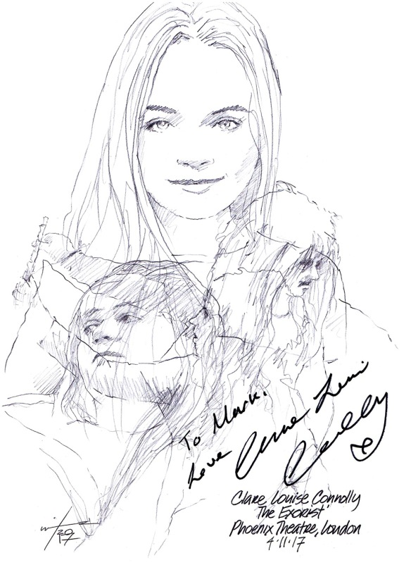 Autographed drawing of Clare Louise Connolly in The Exorcist at the Phoenix Theatre in London