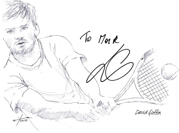 Autographed drawing of tennis player David Goffin