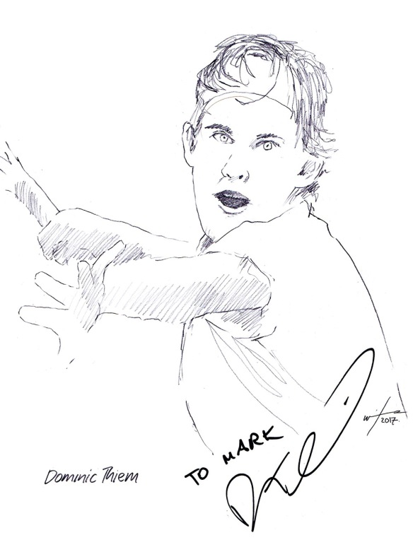 Autographed drawing of tennis player Dominic Thiem