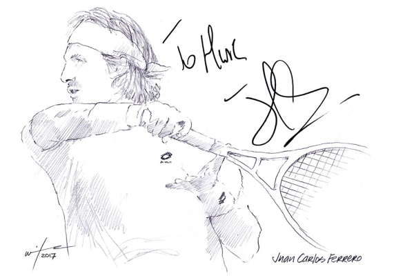 Autographed drawing of tennis player Juan Carlos Ferrero