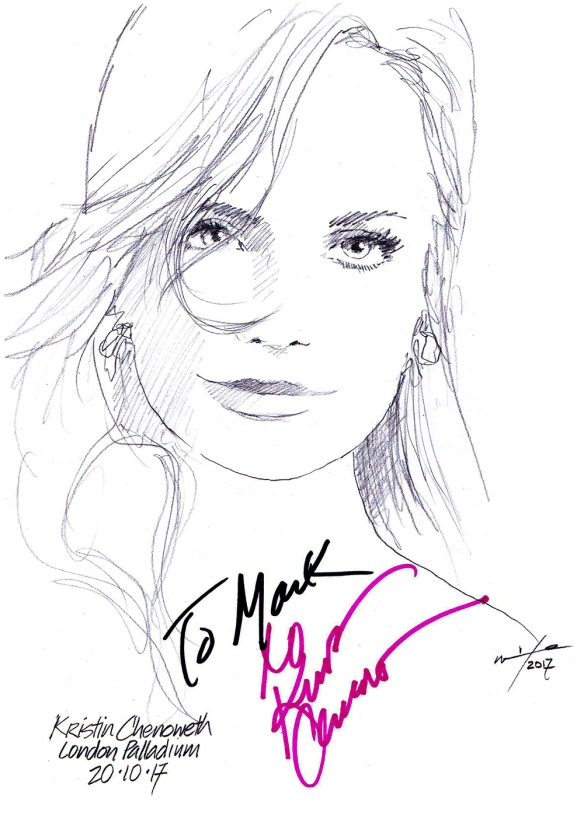 Autographed drawing of actress Kristin Chenoweth