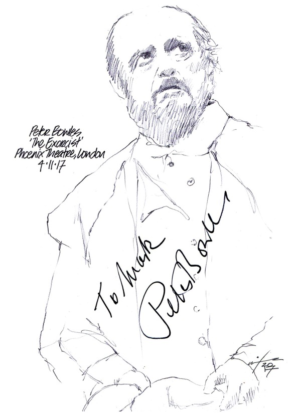 """Autographed drawing of Peter Bowles in """"The Exorcist"""" at the Phoenix Theatre on London's West End"""