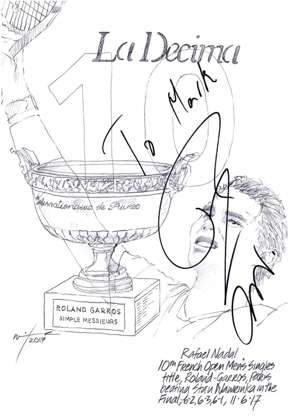 Autographed drawing of tennis player Rafael Nadal celebrating La Decima, ten French Open wins