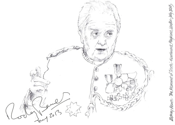 Autographed drawing of Rodney Bewes in The Moment of Truth at the Southwark Playhouse in London 2013