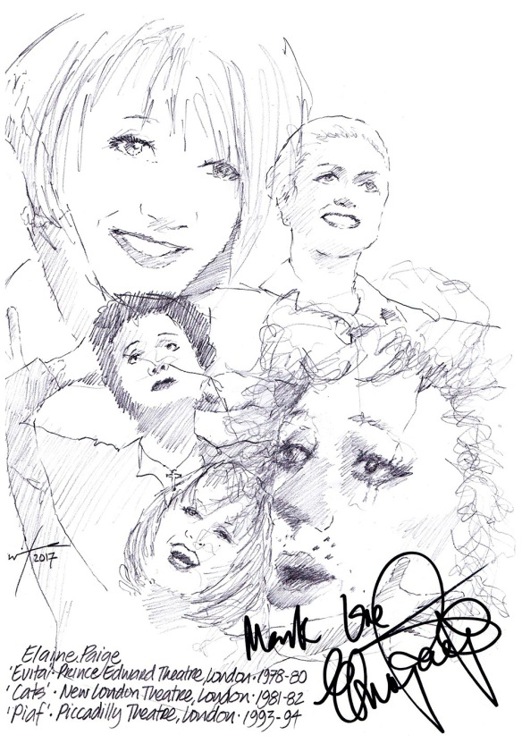 Autographed drawing of Elaine Paige in Evita at the Prince Edward Theatre, London, in Cats at the New London Theatre and in Piaf at the Piccadilly Theatre on London's West End