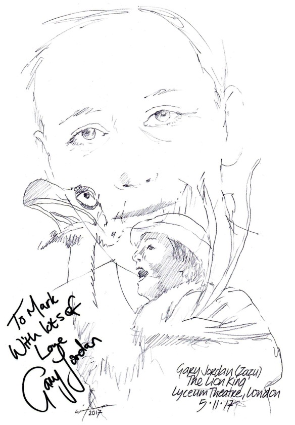 "Autographed drawing of Gary Jordan as Zazu in ""TheLion King"" at the Lyceum Theatre on London's West End"
