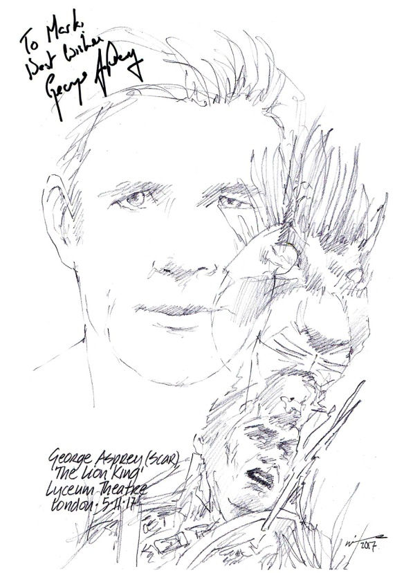 Autographed drawing of George Asprey in The Lion King at the Lyceum Theatre on London's West End