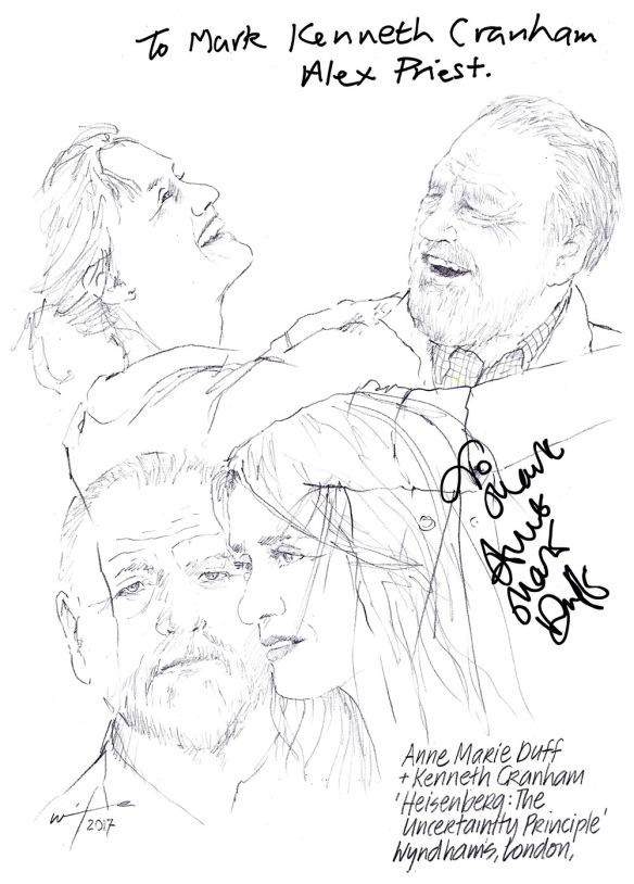 Autographed drawing of Anne Marie Duff and Kenneth Cranham in Heisenberg: The Uncertainty Principle at Whyndham's Theatre on London's West End