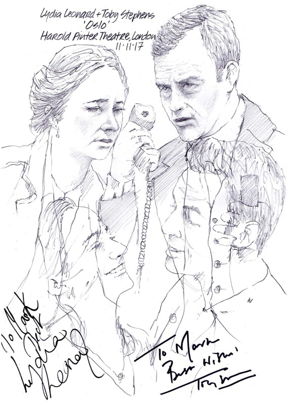 "Autographed drawing of Lydia Leonard and Toby Stephens in ""Oslo"" at the Harold Pinter Theatre on London's West End"