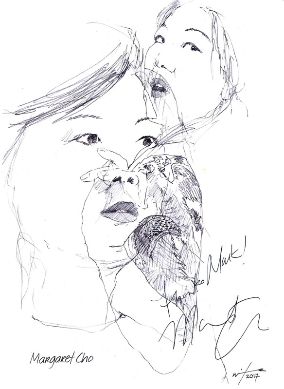 Autographed drawing of comedian Margaret Cho