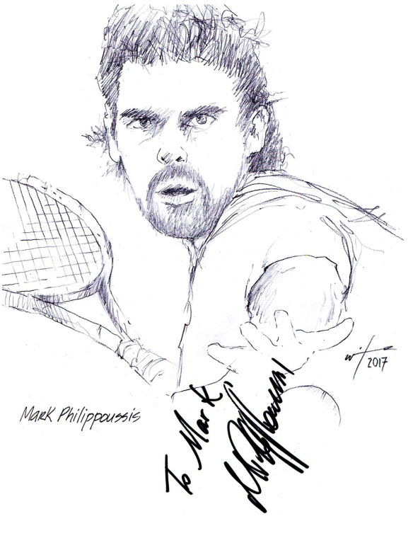 Autographed drawing of tennis player Mark Philippoussis