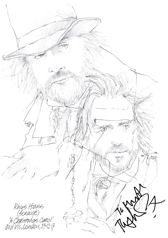Autographed drawing of Rhys Ifans as Scrooge in The Christmas Carol at The Old Vic Theatre on London's West End