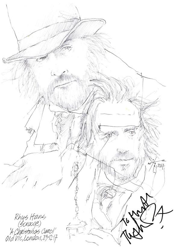 Christmas Carol Scrooge Drawing.Drawing Rhys Ifans As Scrooge In A Christmas Carol