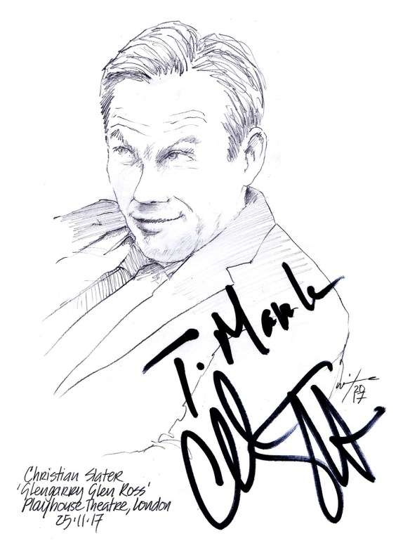 Autographed drawing of Christian Slater in Glengarry Glen Ross at the Playhouse Theatre on London's West End