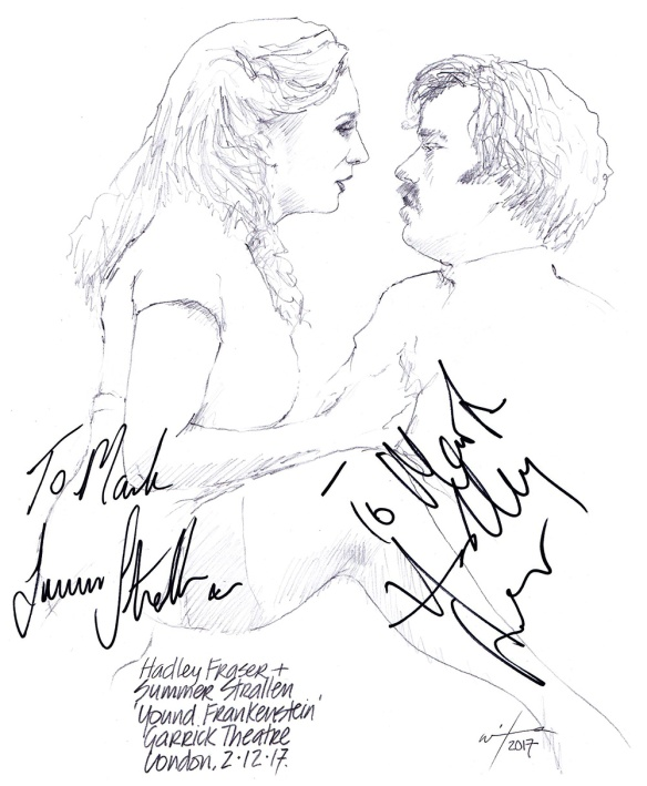 Autographed drawing of Hadley Fraser and Summer Strallen in Young Frankenstein at the Garrick Theatre in London's West End