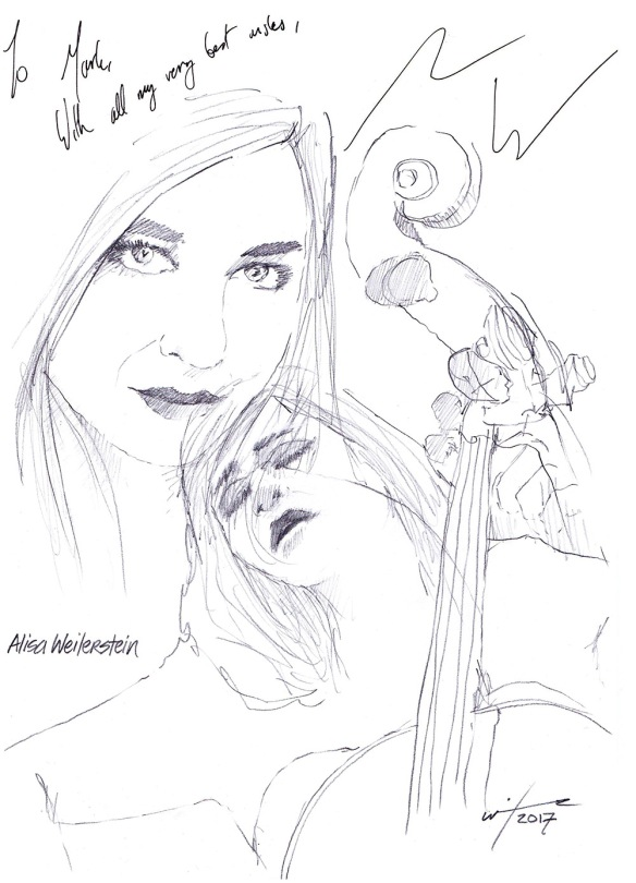 Autographed drawing of classical cellist Alisa Weilerstein