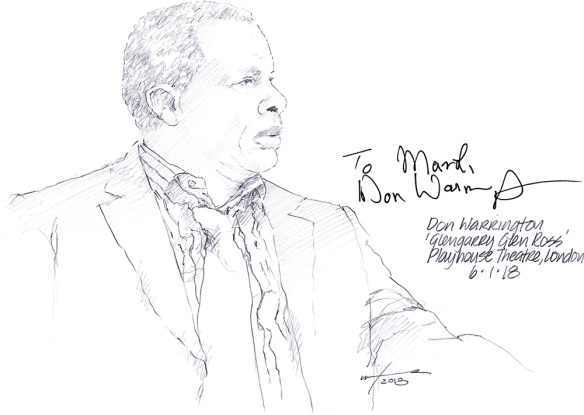 Autographed drawing of Don Warrington in Glengarry Glen Ross at the Playhouse Theatre on London's West End