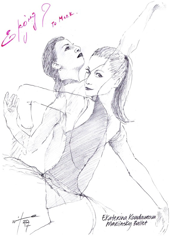 Autographed drawing of ballerina Ekaterina Kondaurova of the Mariinsky Ballet