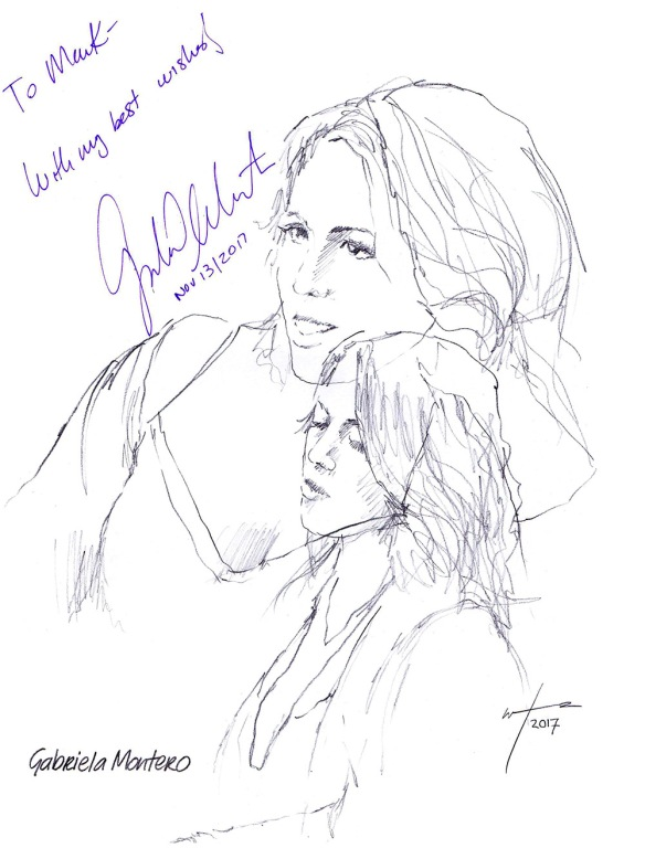 Autographed drawing of pianist Gabriela Montero