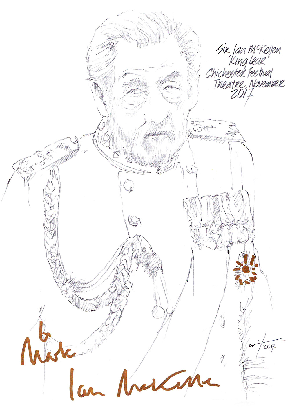 Autographed drawing of Sir Ian Mckellen as King Lear at the Chichester Festival Theatre