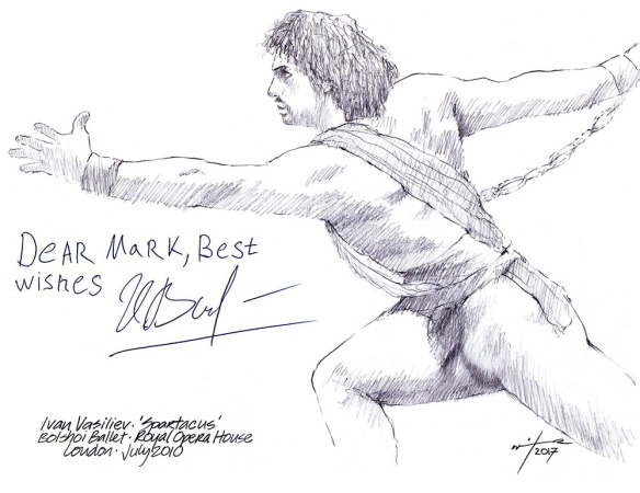 Autographed drawing of Ivan Vasiliev in Spartacus with the Bolshoi Ballet