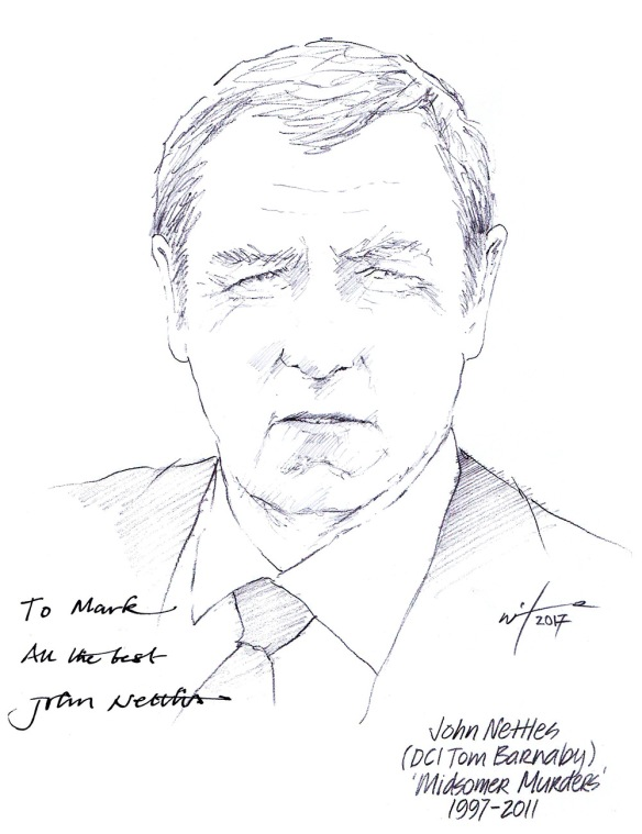 Autographed drawing of John Nettles as DCI Tom Barnaby in Midsomer Murders