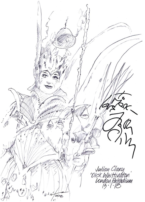 Autographed drawing of Julian Clary in Dick Whittington at the London Palladium
