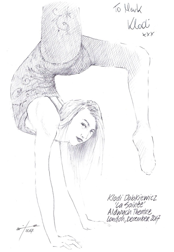 Autographed drawing of Klodi Dabkiewicz in La Soiree at the Aldwych Theatre on London's West End