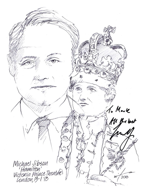 Autographed drawing of Michael Jibson in Hamilton at Victoria Palace Theatre on London's West End