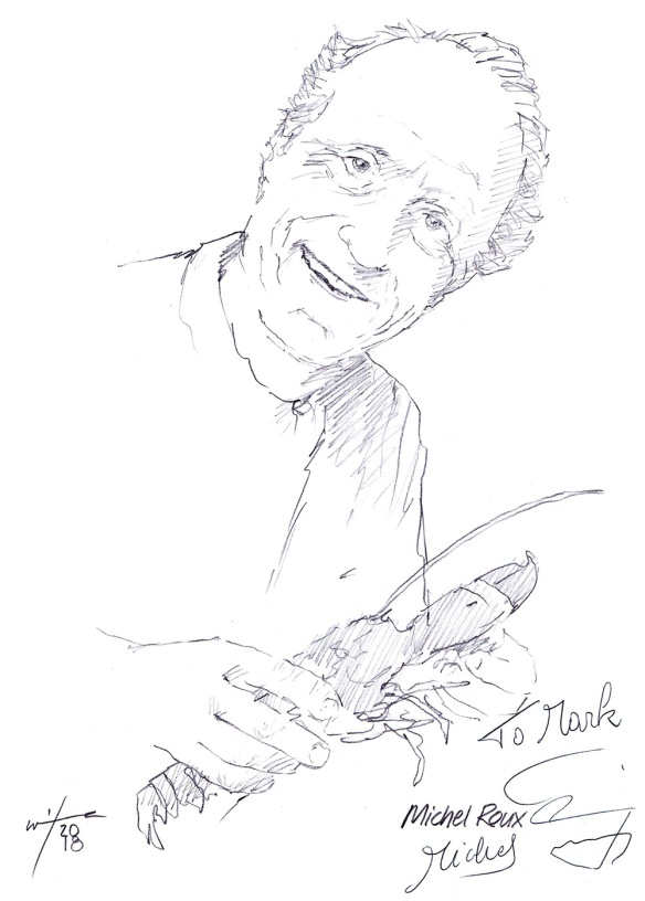 Autographed drawing of Chef Michel Roux