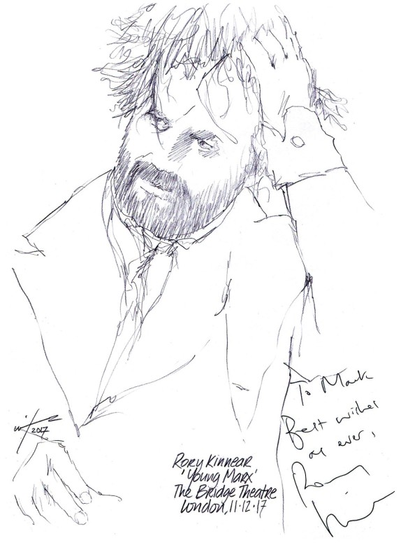 Autographed drawing of Rory Kinnear in Young Marx at The Bridge Theatre in London