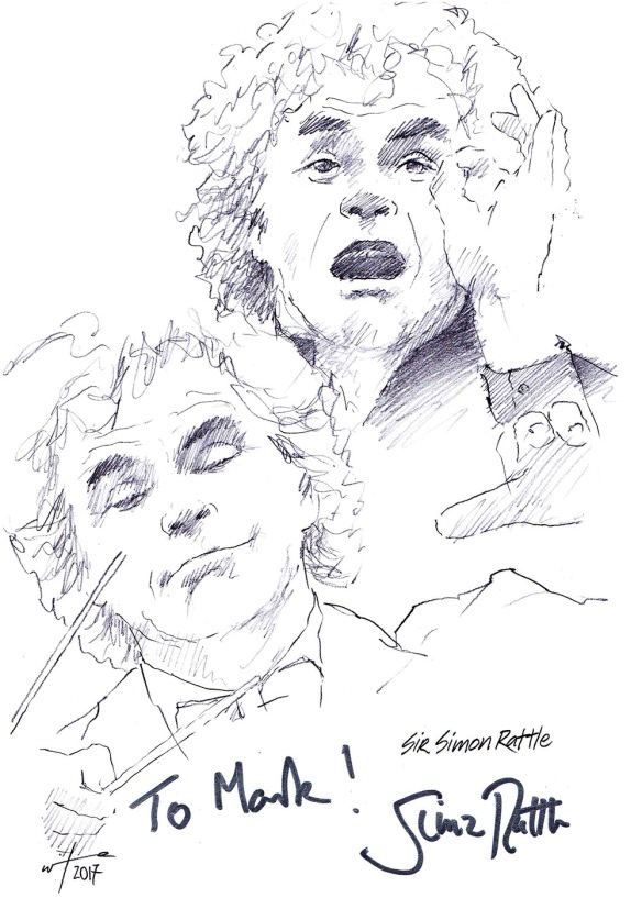 Autographed drawing of conductor Sir Simon Rattle