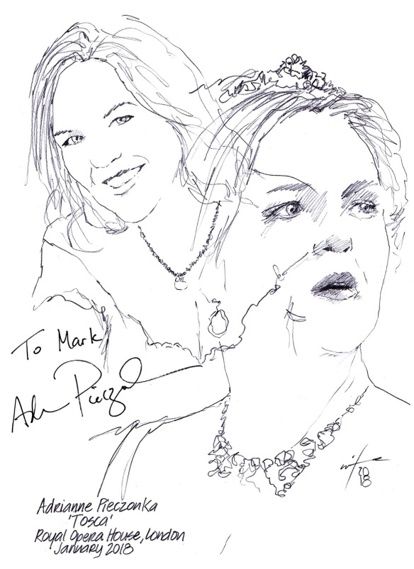 Autographed drawing of soprano Adrianne Pieczonka in Tosca at the Royal Opera House, London