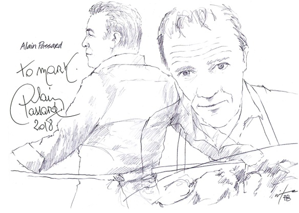 Autographed drawing of chef Alain Passard