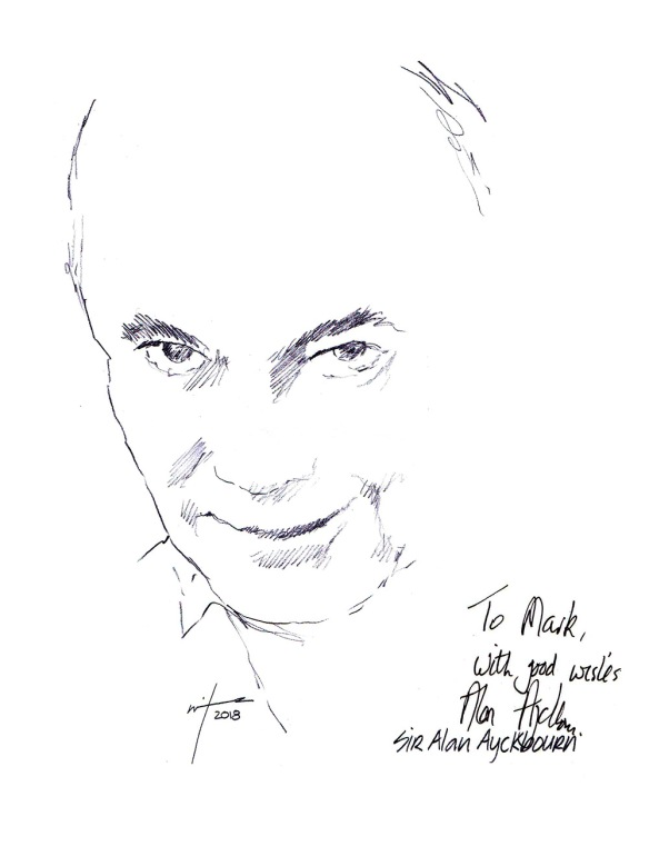 Autographed drawing of playwright Alan Ayckbourn