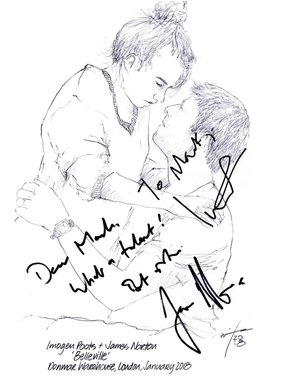 Autographed drawing of James Norton and Imogen Poots in Belleville at the Donmar Warehouse Theatre in London