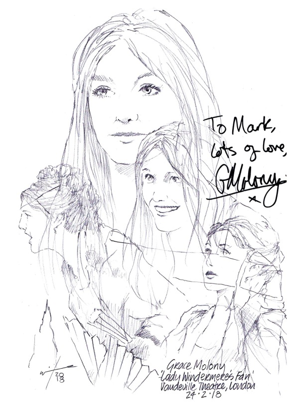 Autographed drawing of Grace Molony in Lady Windermere's Fan at the Vaudeville Theatre on London's West End