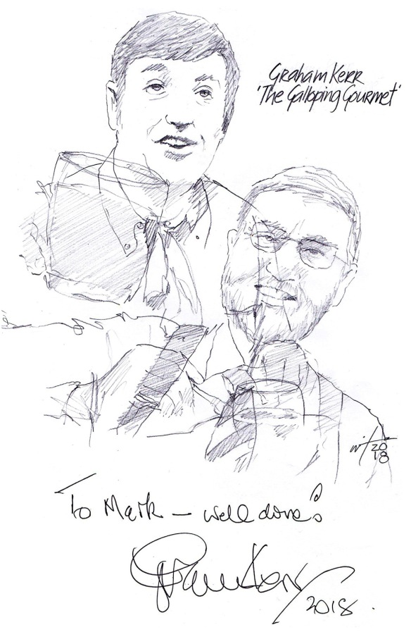 Autographed drawing of chef Graham Kerr in The Galloping Gourmet