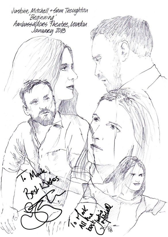 Autographed drawing of Justine Mitchell and Sam Troughton in Beginning at the Ambassadors Theatre in London's West End