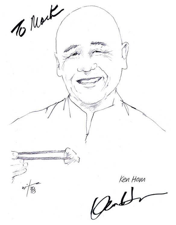 Autographed sketch of Chef Ken Hom